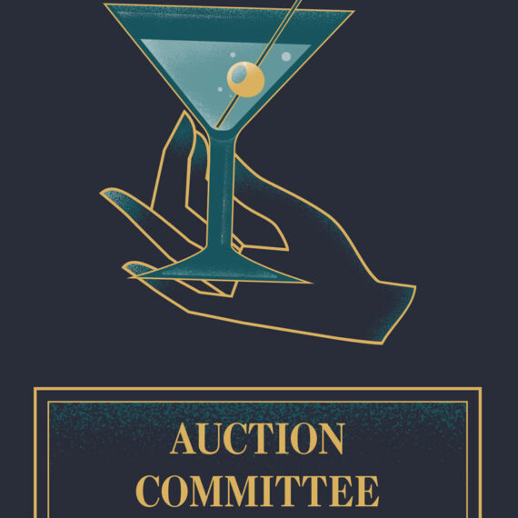 A close up of the design used for the auction committee section of the booklet