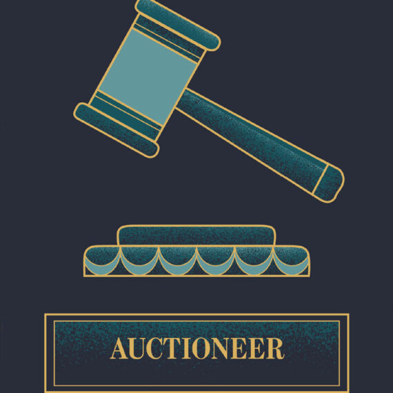 A close up of the design used for the section of the booklet where the auctioneer was introduced