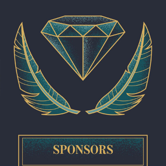 Close up of the design used for the Sponsors section of the booklet. A diamond and feathers were chosen to allude to their use in masquerade ball decor in the early history of the US