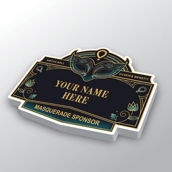 Sponsorship stickers were diecut and offered a great way for the host organization to begin introducing the event to potential sponsors