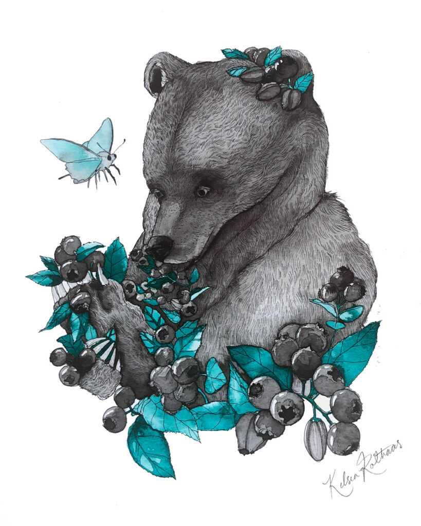 I painted this brown bear after a trip to the mountain to go blueberry picking. I often picture them looking something like this while devouring their horde of summer berries.