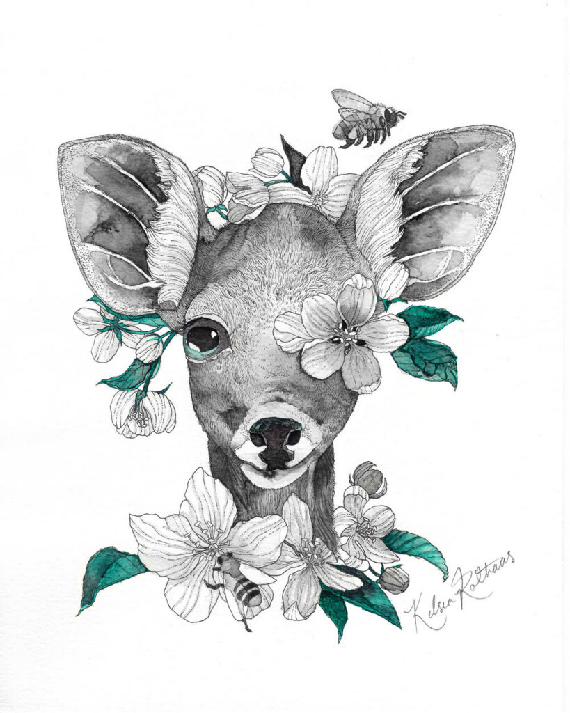 Apples are always a stand out choice of food for deer. To welcome the spring season, I illustrated this deer fawn with apple blossoms and mason bees.