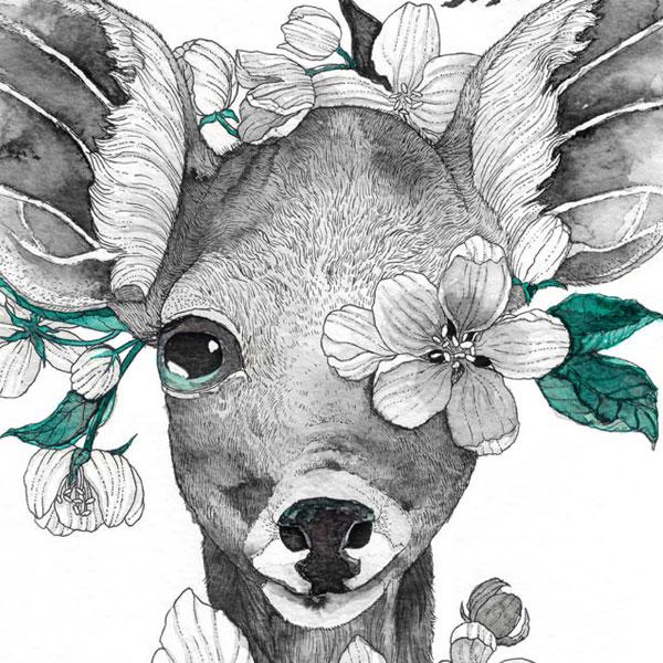 Inkwash Deer Featured