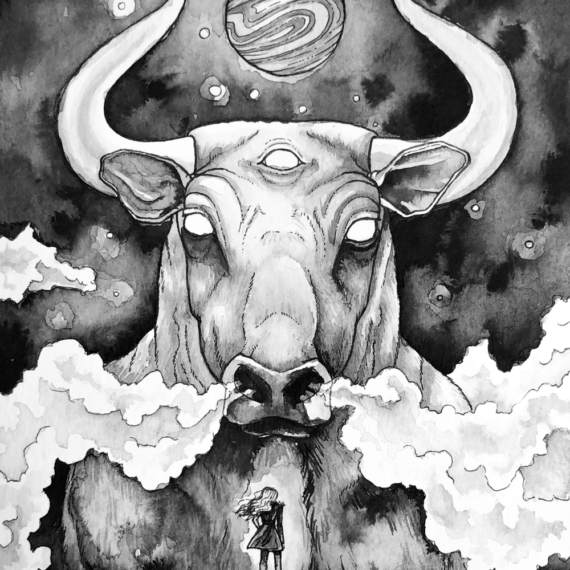 Taurus bull with girl, constellation and ruling planet, venus.
