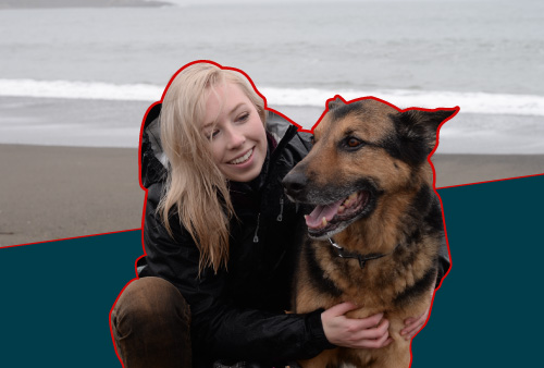 Photo of Kelsea and Apollo at a washington coast beach