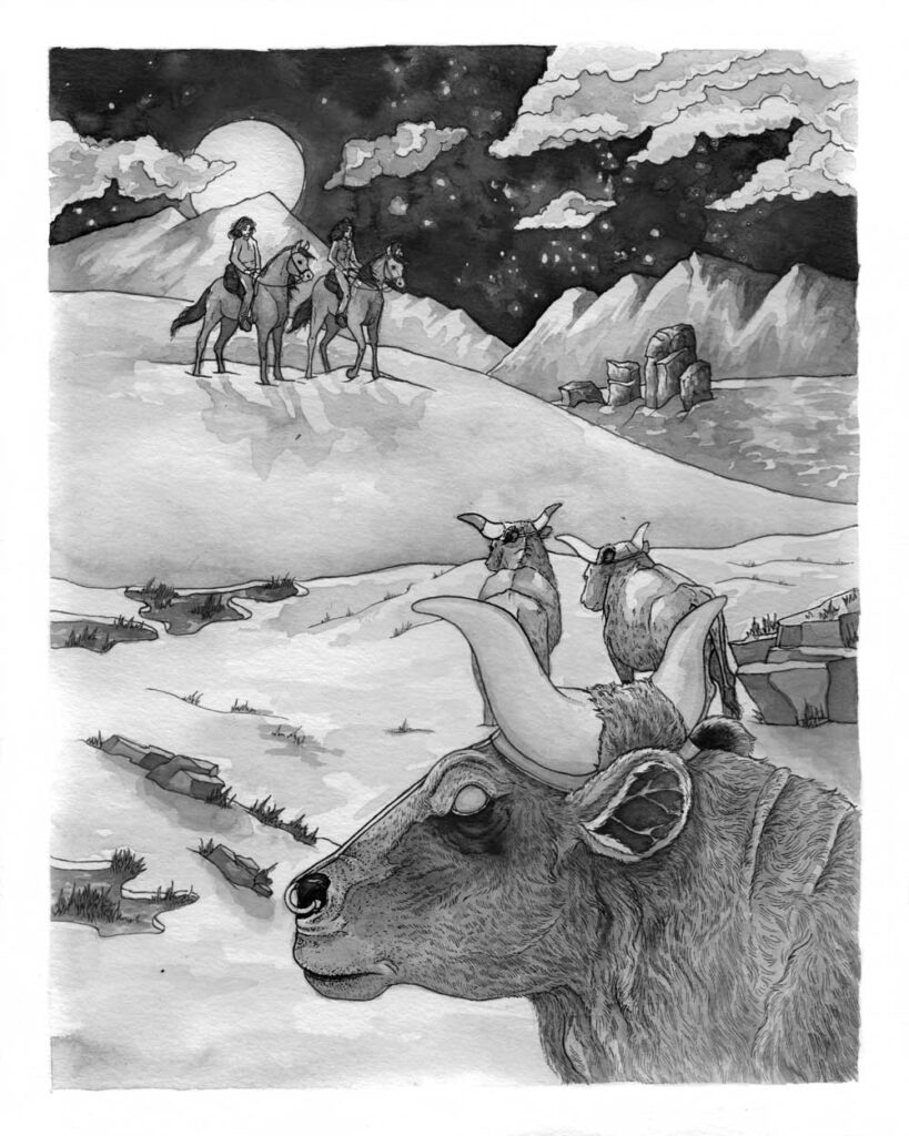 Magical, evil bulls looking into the distance towards main protagonist and her brother.