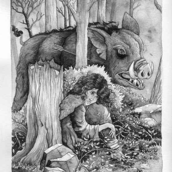 Protagonist hiding from a gigantic wild boar in a forest