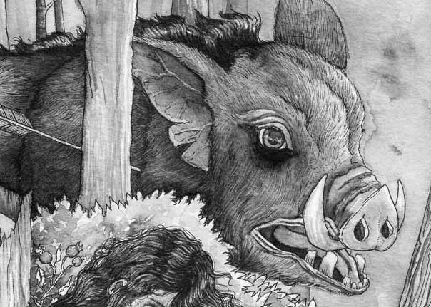 Ink wash illustration of a boar from the bronze age by Kelsea Rothaus