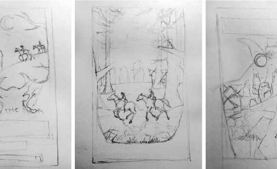 Thumbnail sketches that lead to the final design choice for the book cover