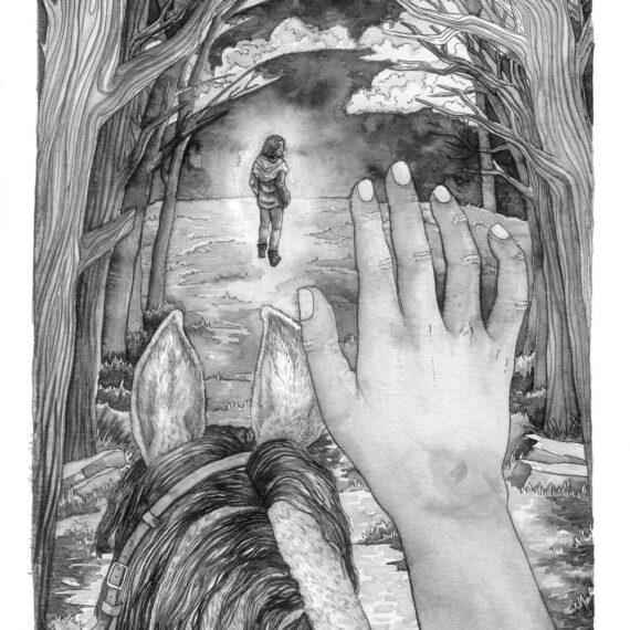First person view of the protagonist reaching her hand out towards her lost brother in a dream scene
