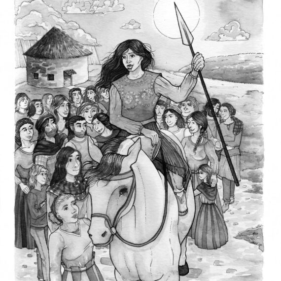 Queen in bronze age armor on horseback in a crowd of villagers