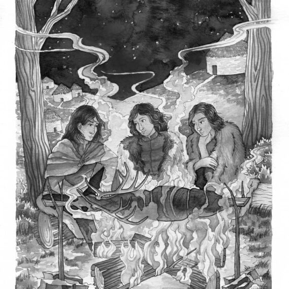 Protagonist with others around a fire roasting a wild stag over the flames