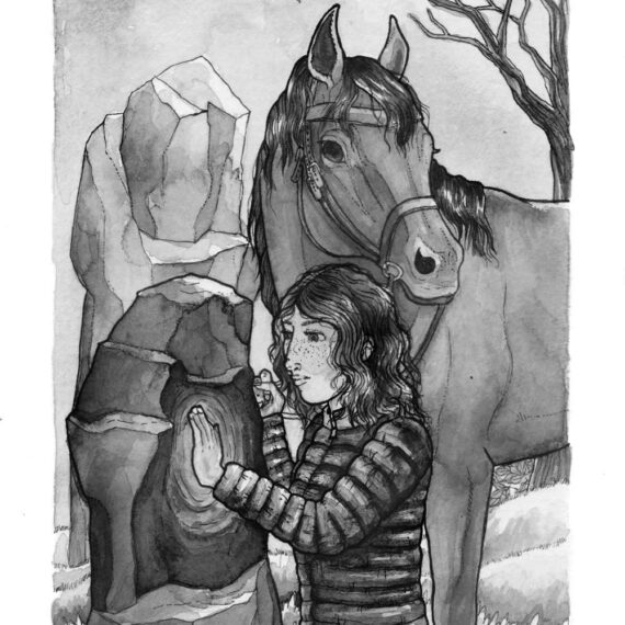 Protagonist with her horse and hand resting on the magic stones