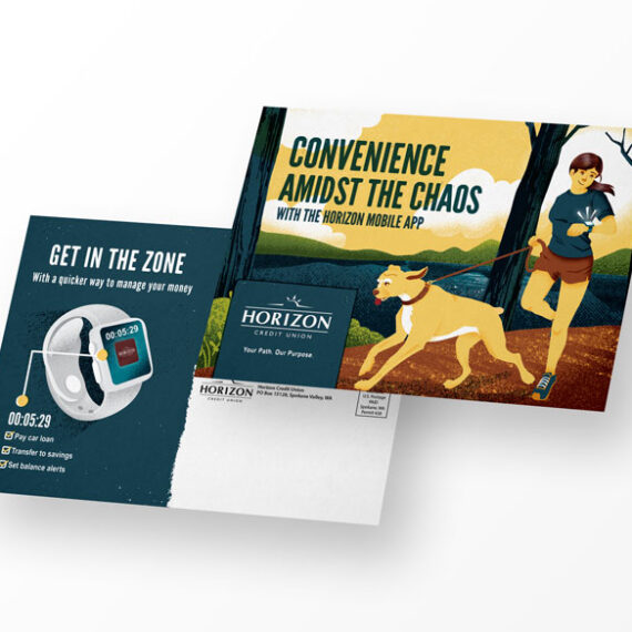 Dog and woman running illustration on the front of the postcard. The back shows an apple watch with the brand's mobile app on the screen. The call-out gives details about how easy it is to check your finances from the app.