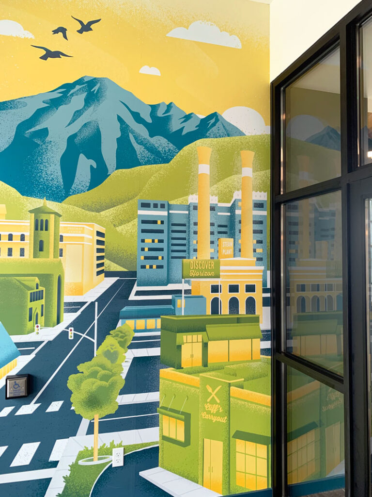 Interior wall mural with an illustration of downtown Spokane