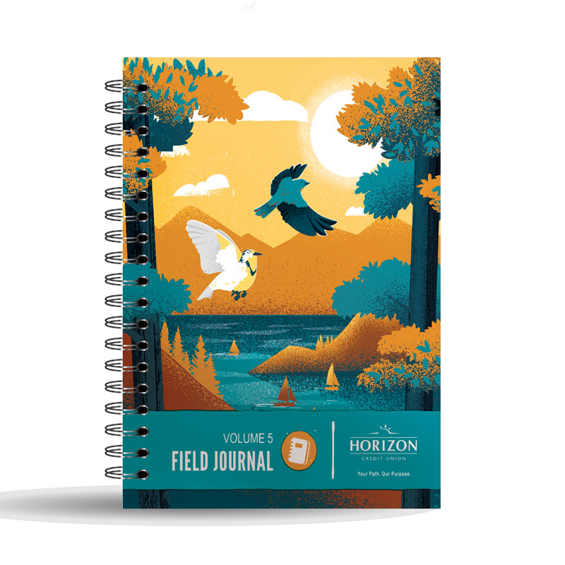 The Idaho and Oregon state birds were included in this design to welcome new employees to the organization. The notebook is distributed annually, but this volume came at a time when many new employees were being onboarded to the organization.
