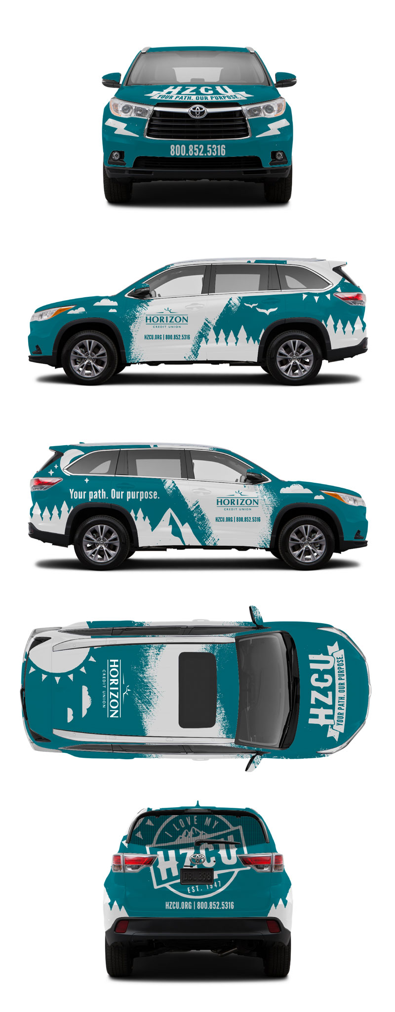 A full wrap was applied to a colored SUV to make its color seem in-line with the rest of the fleet. Brand icons and imagery were incorporated into the design.