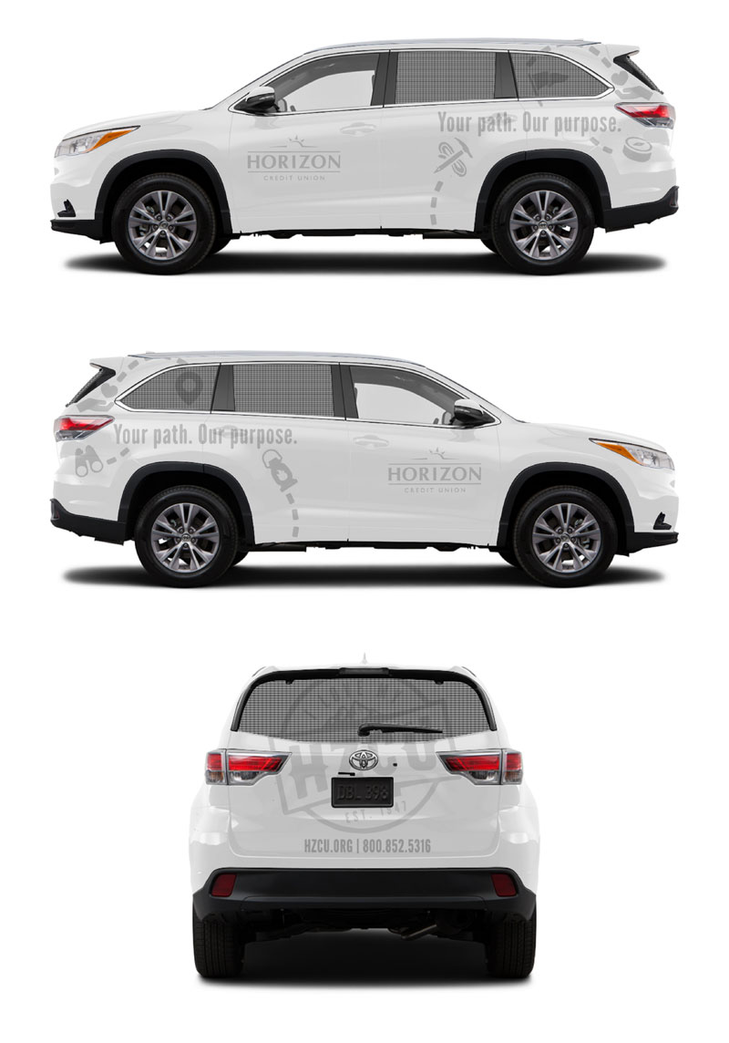 Light gray decals were cut and applied to the white SUV to maintain a subtle branding method on a corporate vehicle