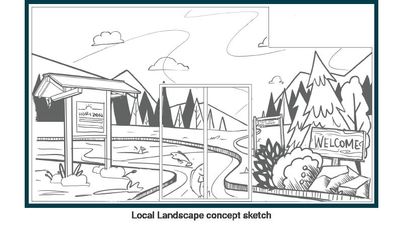 Sketch of a landscape concept